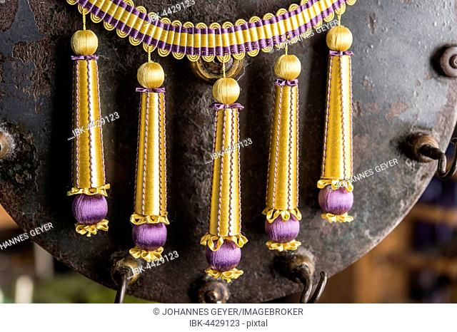 Passementerie, five finished Empire fringes, gold, purple, decorated with spun vellum flowers, attached to crepine or woven border, Munich, Bavaria, Germany