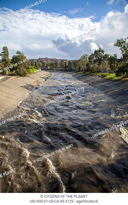 Ballona Creek rises dramatically after rainfall, Culver City, Los Angeles, California, USA. (Photo by: Citizens of the Planet/UIG)