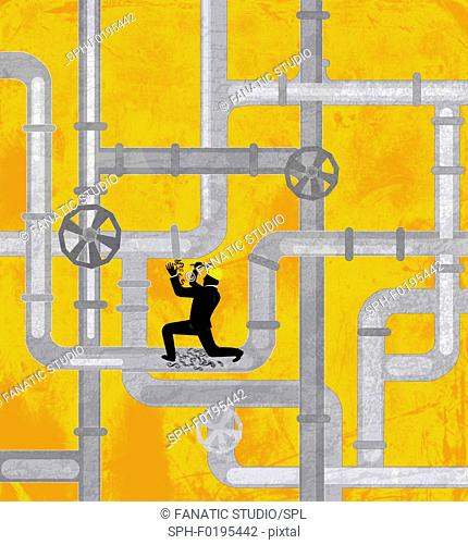 Illustration of plumber repairing drainage pipeline
