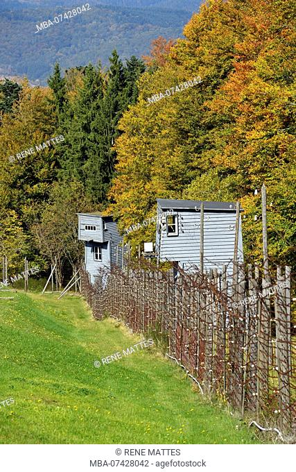 France, Bas Rhin, Natzwiller, Le Struthof former Nazi Concentration Camp, only Nazi run camp on French territory in World War Two, watchtower of compound