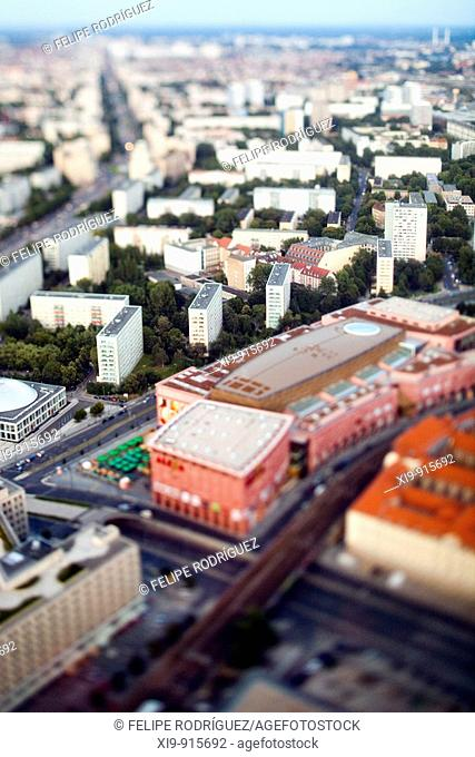 Aerial view from the TV Tower of the former East Berlin around Alexanderstrasse area, Germany (Tilted lens used for a shallower depth of field and to create