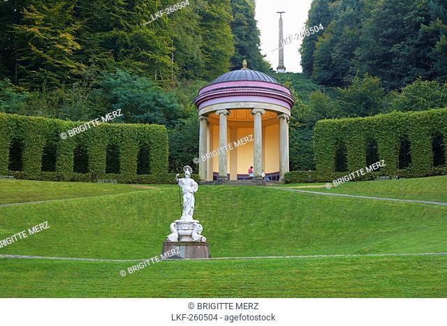 Park by Johann Moritz von Nassau-Siegen, Socalled amphitheatre, Temple of Ceres, Statue of goddess Athena, Evening, Late summer, Kleve, Lower Rhine