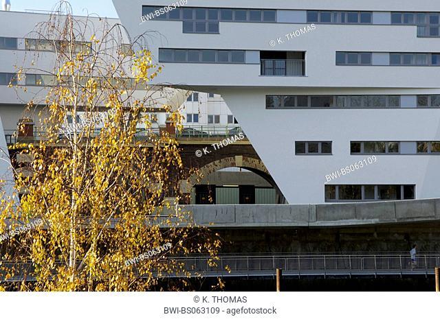 modern building of Zaha Hadid on the Danube channel, Austria, Vienna, Danube Channel
