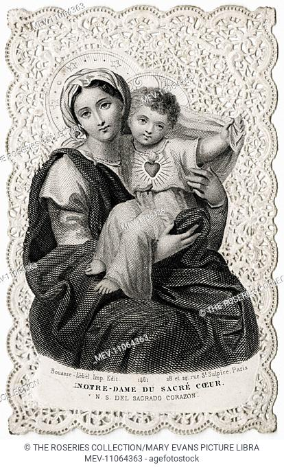 The Virgin Mary and Baby Jesus - Beautiful late 19th century Devotional Card