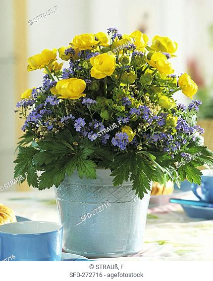 Arrangement of forget-me-nots and globe flowers