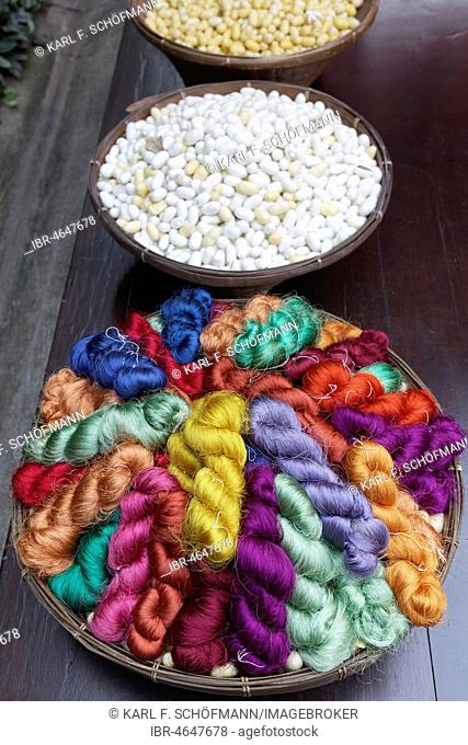 Colored silk in pigtails and white silkworm cocoons, Jim Thompson House, Museum, Pathum Wan, Bangkok, Thailand