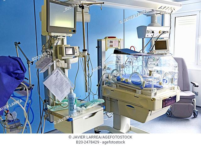 Incubator, Medical care, Neonate Intensive care Unit, ICU, Hospital Donostia, San Sebastian, Gipuzkoa, Basque Country, Spain