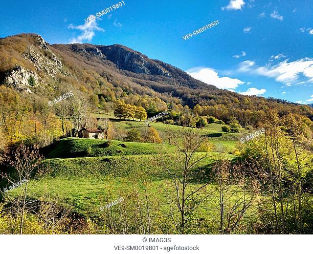Landscape near Pendones village, Redes Natural Park, Asturias, Spain