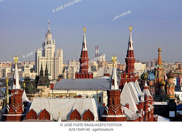 Rusia , Moscow City , St. Basil's Cathedral and History Museum Skyline