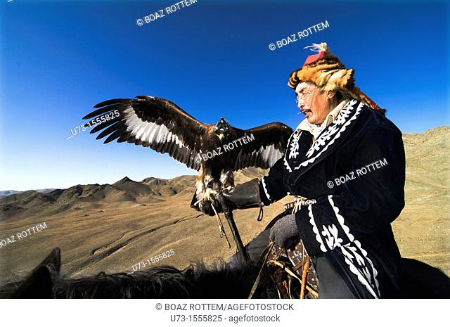 A Proud eagle hunter at the Altai region of western Mongolia