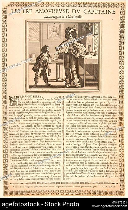 Captain's Love Letter. Artist: Abraham Bosse (French, Tours 1602/1604-1676 Paris); Publisher: François Langlois (French, baptized Chartres