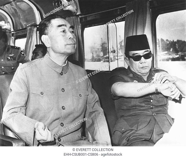 China's Premier Chou En-lai (left) cruising Egypt's Nile River with President Sukarno of Indonesia. July 6, 1965. They were awaiting the opening in Algeria of...