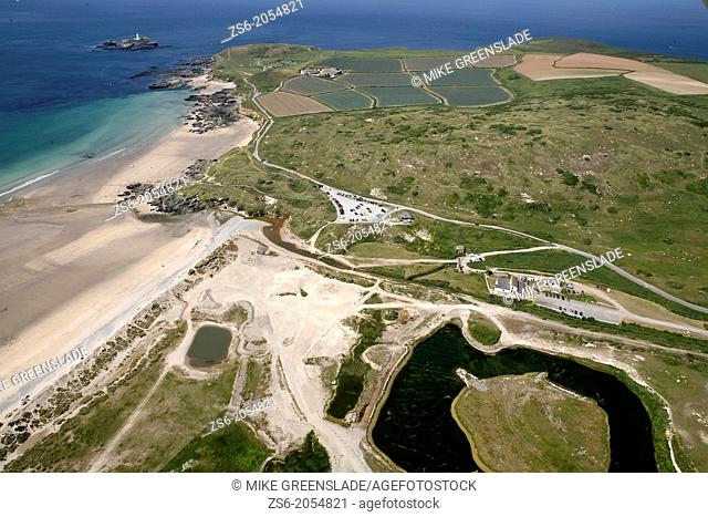 Aerial of Godreavy Lighthouse and the Red River Nature Reserve, Cornwall, UK