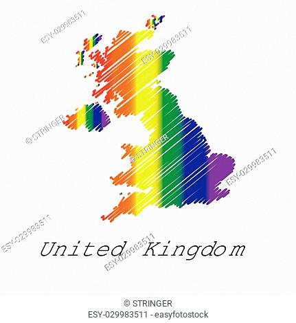 An LGBT Coloured Scribbled Shape of the Country of United Kingdom