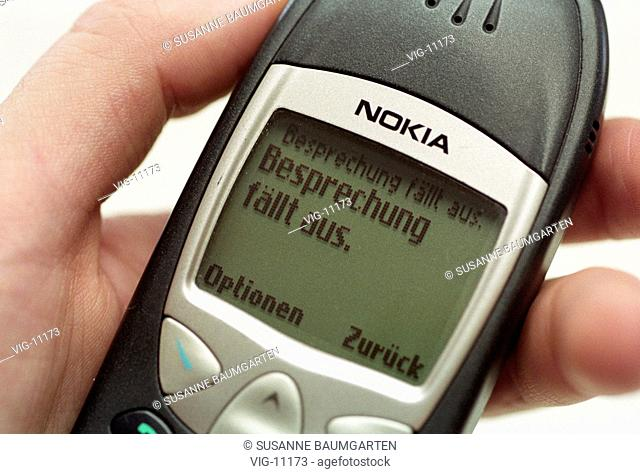 Handy ( Nokia 6210 ), with SMS The meeting falls out . - BONN, GERMANY, 22/08/2001