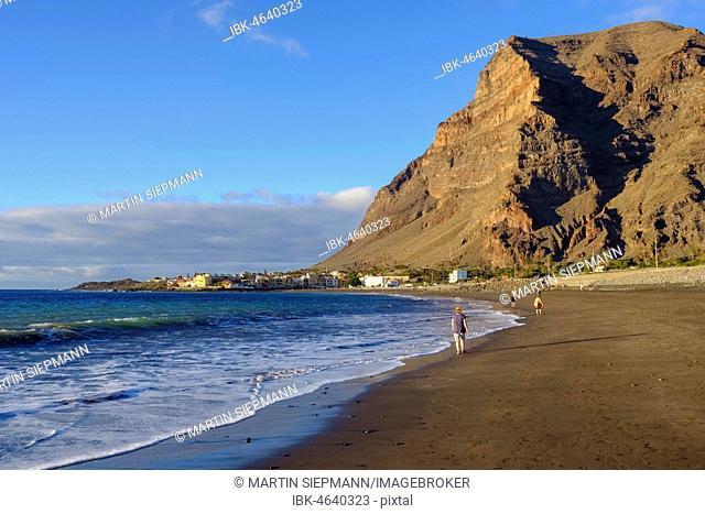 Black lava beach in La Playa, La Merica Mountain, Valle Gran Rey, La Gomera, Canary Islands, Spain
