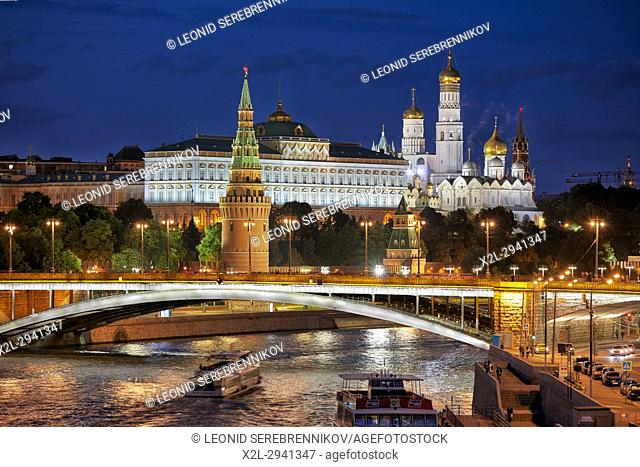 Moscow Kremlin illuminated at dusk. Moscow, Russia