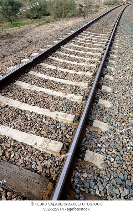 Railway tracks. Morata de Jalón. Valdejalón. Zaragoza. Aragón. Spain