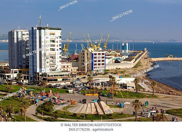Albania, Durres, elevated beachfront view