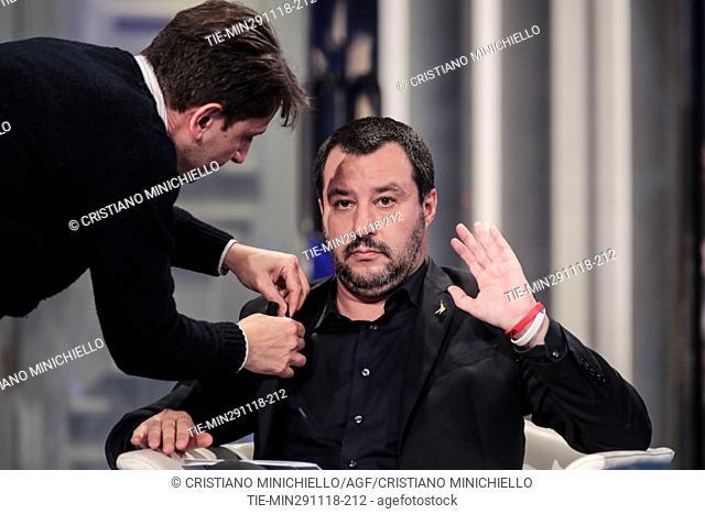 Italian Deputy Premier and Minister of Interior Matteo Salvini attends at the tv show Porta a porta in Rome, ITALY-29-11-2018