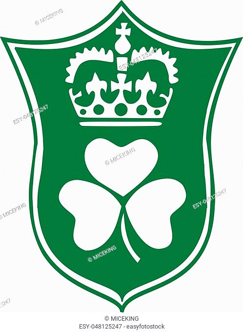 St. Patrick's Day emblem with shamrock and crown