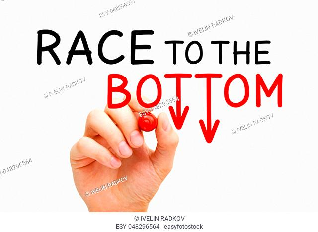 Hand writing Race to the Bottom or Price War concept with marker on transparent wipe board isolated on white