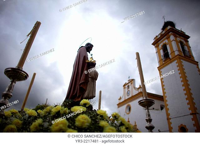 A statue of Saint Joseph is displayed during Easter Holy Week in Prado del Rey, Cadiz province, Andalusia, Spain
