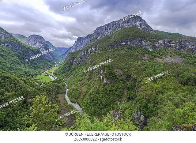 View over the Næroydalen valley from Hotel Stalheim, Norway, village Stalheim in the municipality Voss