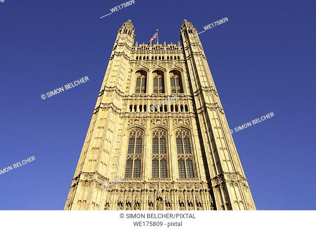 Victoria Tower, Houses of Parliament, Palace of Westminster, London, England, United Kingdom