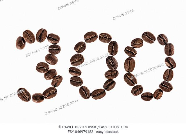 Number 300 from Coffee beans. Isolated on a white background