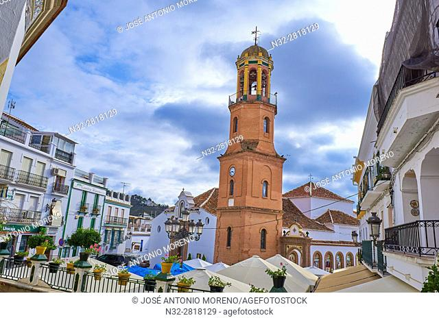 Competa. Axarquia, Main Square, Asuncion Church, Traditional white town, Malaga province, Andalucia, Spain