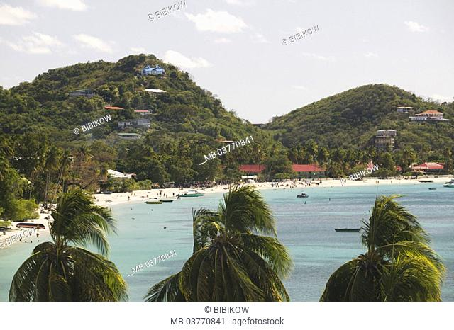 Grenada, West coast, Grand Anse  Bay, swimmers,  Caribbean, West Indian islands, little one Antilles, islands over the wind, island, coast, bay, bath bay, palms