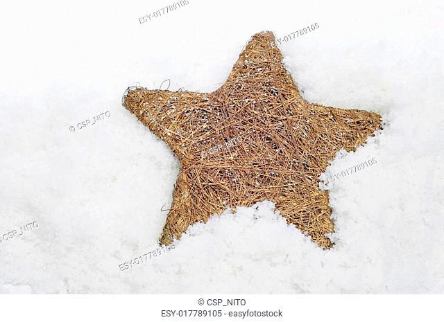 christmas star on the snow