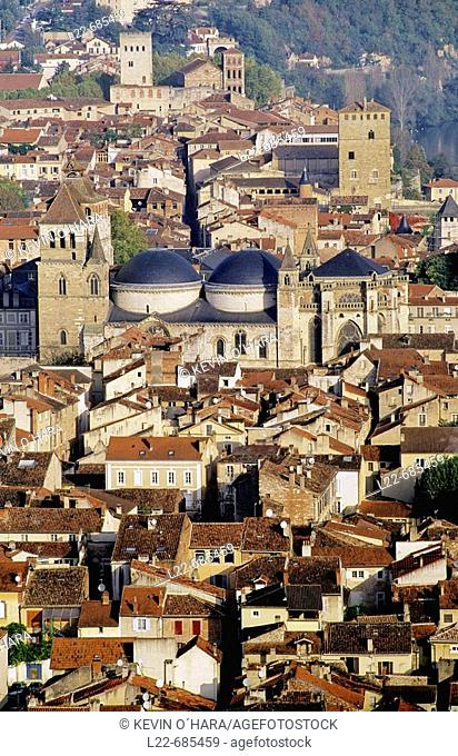 The Cathedral St-Etienne, begun at the end of the 11th Century. Cahors is a historic city on an isthmus in a loop of the Lot river. Lot department