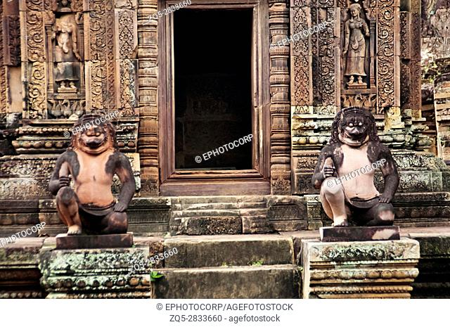 Entrance to one of the temple in Banteay Srei temple complex. The citadel of women, this temple contains the finest, most intricate carvings to be found in...