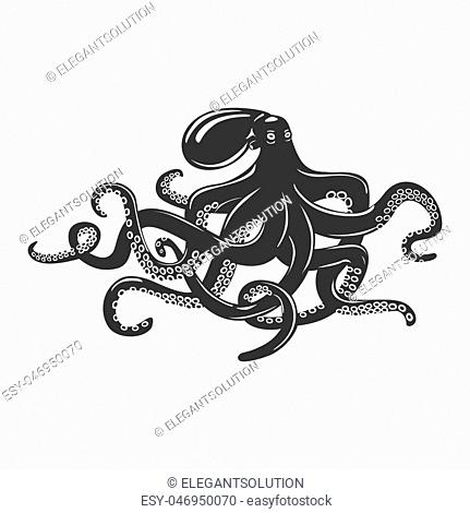Octopus with feeding tentacles and wavy arms with suction cups on it. Camouflaging cuttlefish and swimming mollusk, underwater cephalopod and monster squid