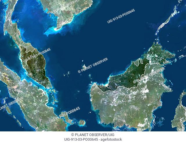 Malaysia, Asia, True Colour Satellite Image With Border And Mask. Satellite view of Malaysia with border and mask. This image was compiled from data acquired by...