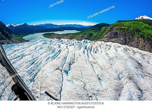 Aerial view, Mendenhall Glacier (with Mendenhall Lake in background), near Juneau, Alaska USA