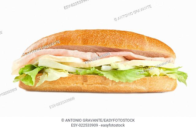 sandwich with ham cheese and salad