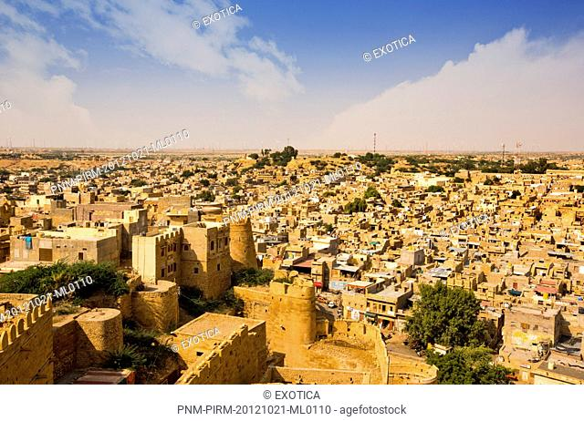 Town with fort on hill, Jaisalmer Fort, Jaisalmer, Rajasthan, India
