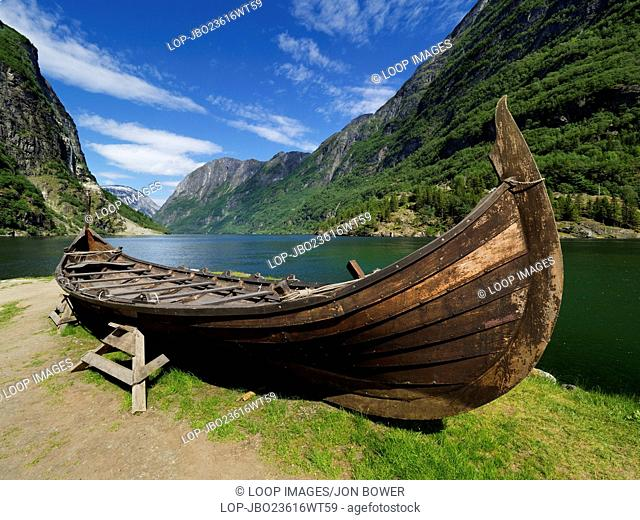 A replica of a small Viking boat displayed in Sognefjord the largest and best known fjord in Norway
