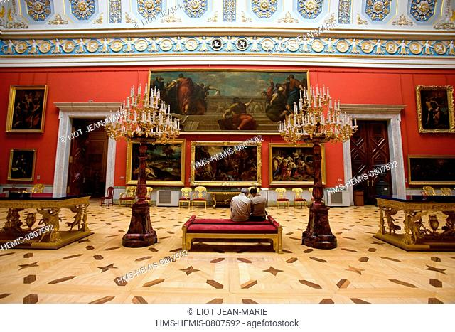 Russia, Saint Petersburg, listed as World Heritage by UNESCO, Winter Palace, hosting the Ermitage Museum, built by Bartolomeo Rastrelli (1754-1762)