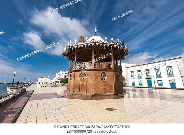Arrecife cityscape, bandstand and promenade in Lanzarote, Canary islands, Spain