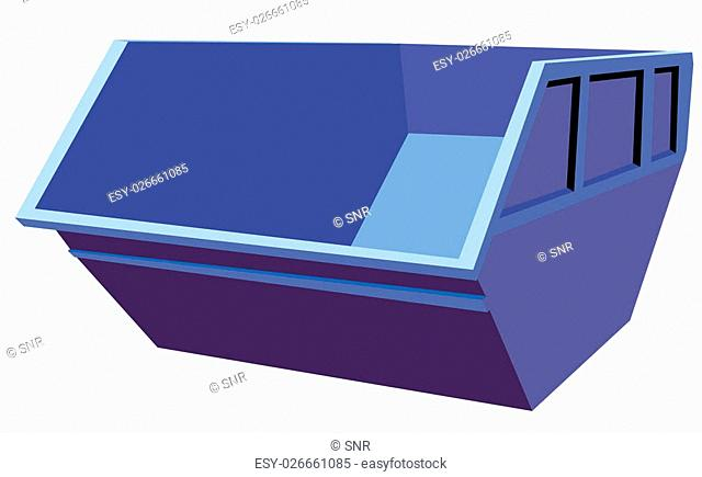 Vector blue metallic container at the white background