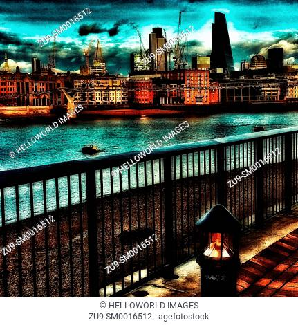 City Of London skyline and river Thames from South Bank, London, England, Europe