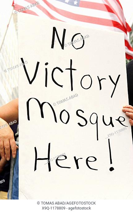Protesters opposing the Islamic center near ground zero gathered in downtown Manhattan on Sunday, August 22, 2010