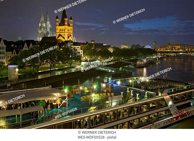 Germany, Cologne, City view at night