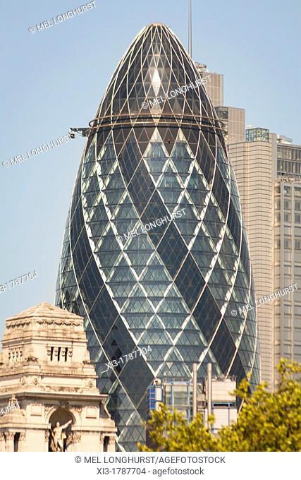 The Gherkin building, 30 St  Mary Axe, London, England