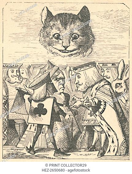 'The Cheshire Cat looking down at the Red King and Queen having an argument', 1889. Artist: John Tenniel