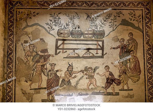 Mosaics at Villa Romana del Casale (Roman Villa) in Piazza Armerina Sicily Italy